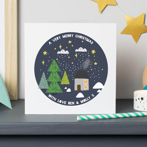 Personalised Christmas Cottage Cards