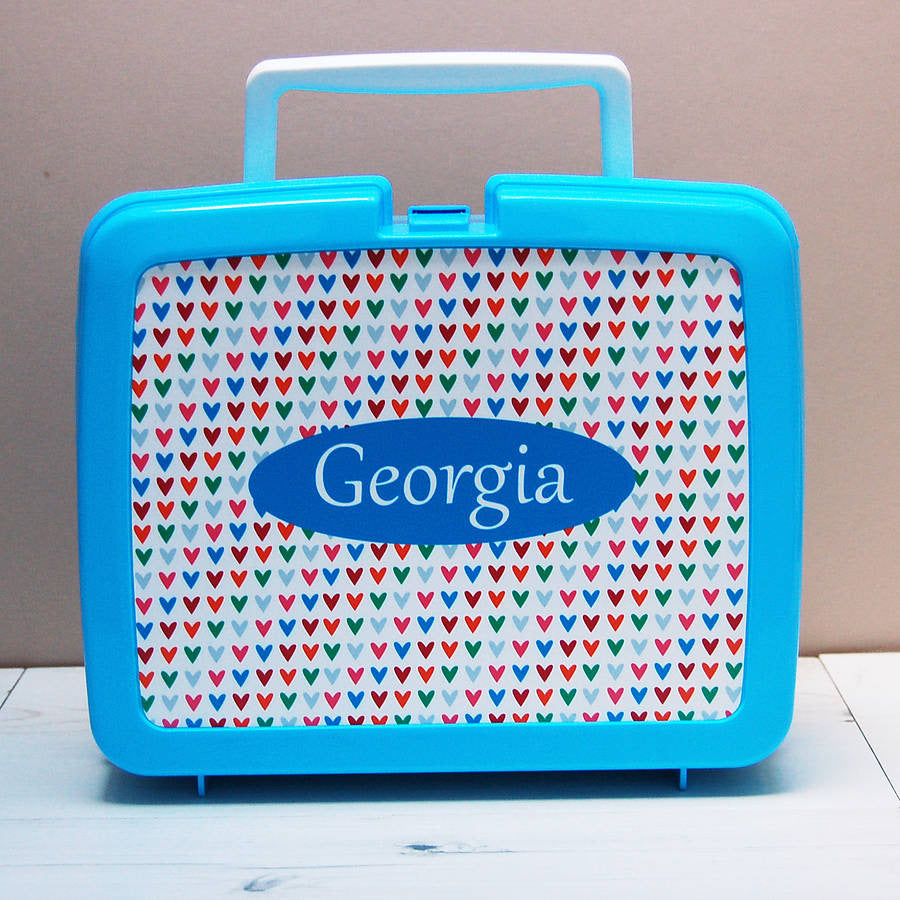 Hearts personalised hygienic plastic lunch box