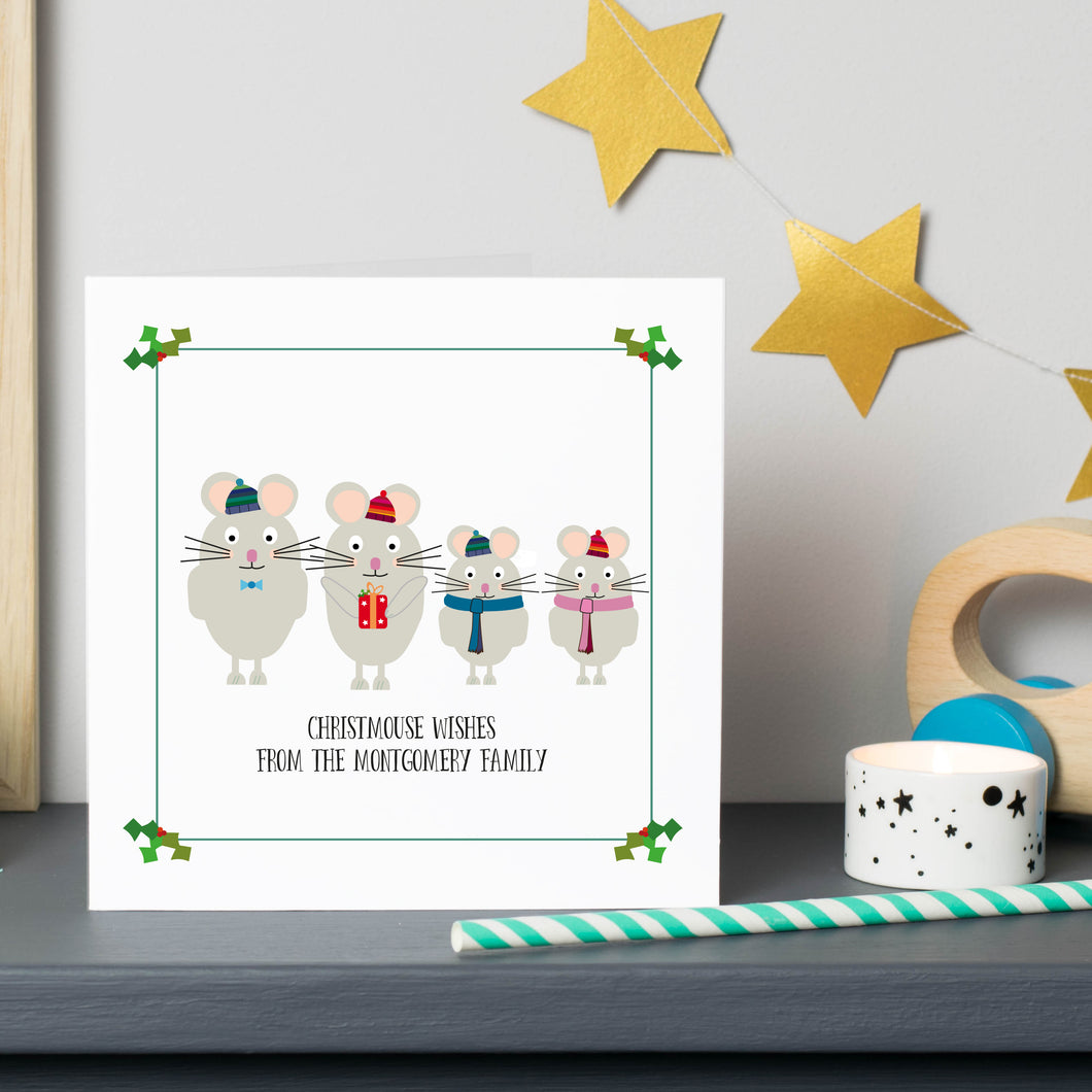 Mouse Family Personalised Christmas Cards