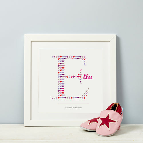Child's Inital Letter Gift Print Pink