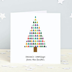 Colourful Christmas Tree Personalised Cards