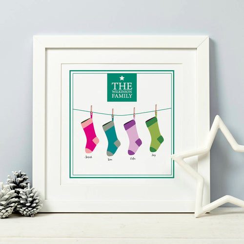 Family Stocking Christmas Print