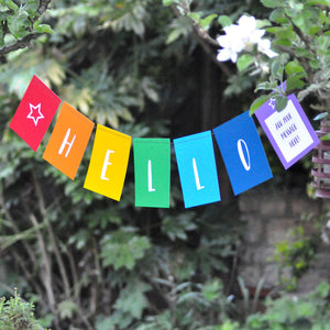 'Hello' Rainbow Hand Stitched Bunting Card