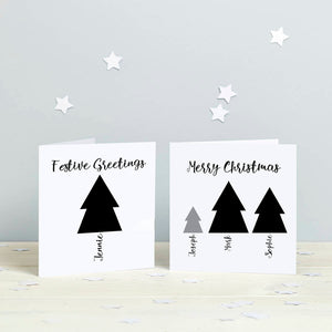 Family Christmas Tree Personalised Cards - Monochrome