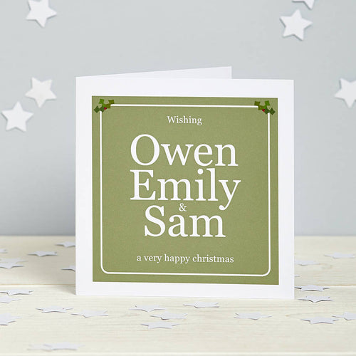 Personalised Coloured Christmas Card