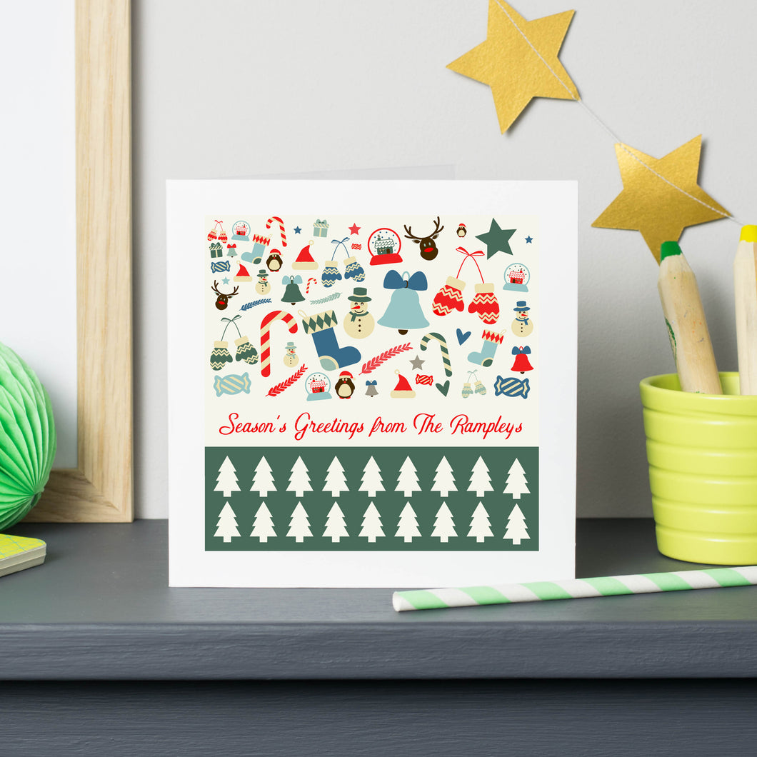 Vintage Style Personalised Christmas Card