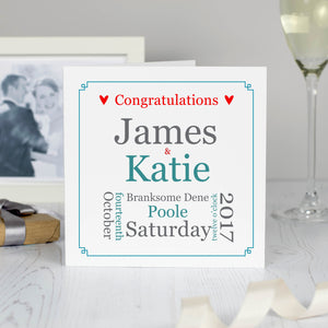 Personalised Wedding Marriage Detail Gift Card