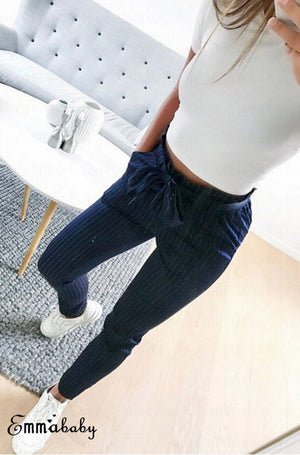 Casual  Striped Ninth Pants