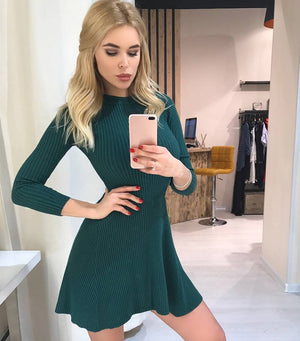 SMILE A Line Short Mini Knitted Dress
