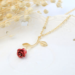 FEM Red Rose Pendant Necklace