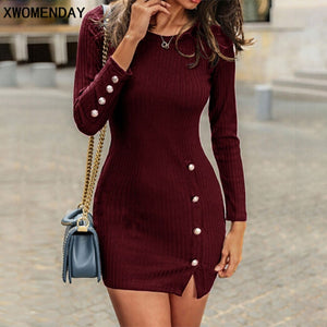 SOE Autumn Sexy Dress With Button Slit