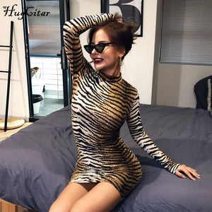 HUGCI Long Sleeve Leopard Dress