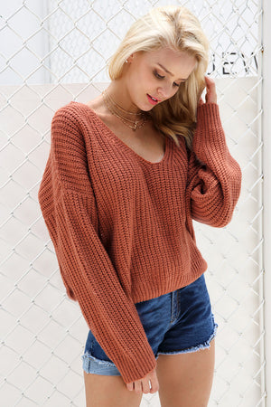 CHARO Sexy Lace Up Sweater