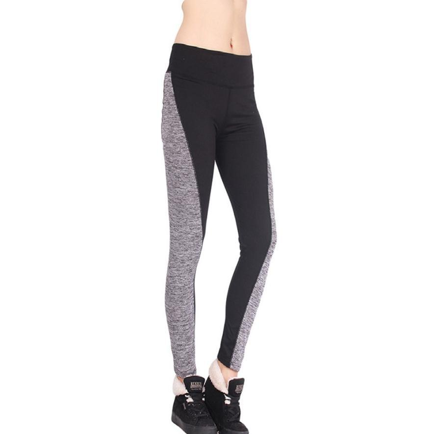 Women Workout Trousers 2016 Hot Sale Fitness Leggings Pants Patchwork High Waist Leggings