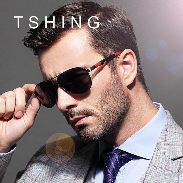 TSHING Mens Classic Big Aviation Polarized Sunglasses Men Fashion Brand Designer Oversized Driving Sun Glasses For Male Eyewear