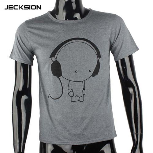 JECKSION 2016 Fashion Men Boy High Quality Camisetas Tees Short Sleeve O-Neck Earphone T Shirt Men Clothes Camisa Masculina #LYW