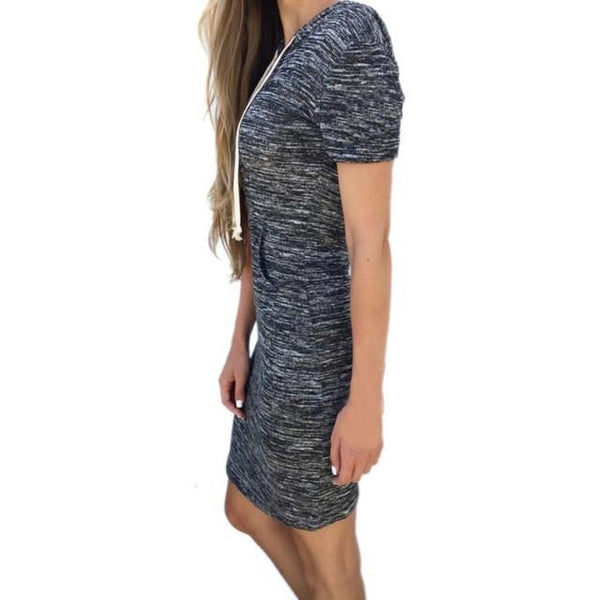 Fashion Dress Womens Ladies Gray Casual Short Sleeve Hoody A-Line Mini Dress #LSIW