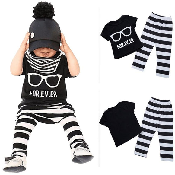 Newborn Baby boys Girls clothes set Toddler Baby Infant Boys Girls Outfit T-shirt Tops+Pants Clothes 2 piece set Drop ship -  - Drako Store