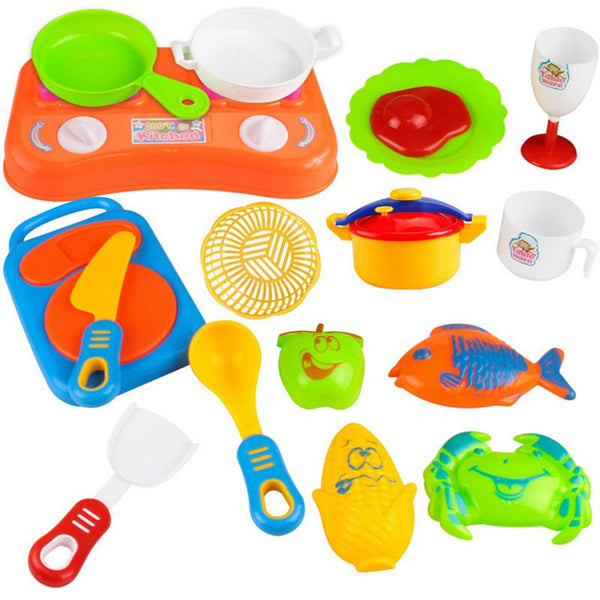 17pcs Plastic Children's Kitchen Toys Pretend play Simulation play toys kitchen cutlery Utensils Vegetables Kids Kitchen Set