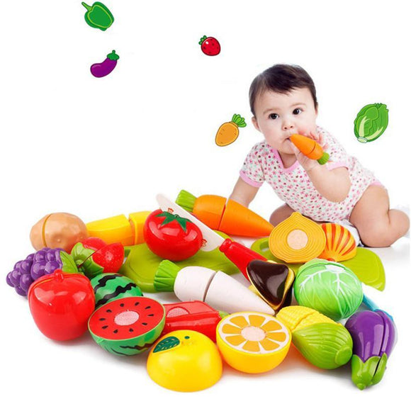 20PC Cutting Fruit Vegetable Pretend Play Children Kid Educational Toys for children kitchen toy #YL -  - Drako Store