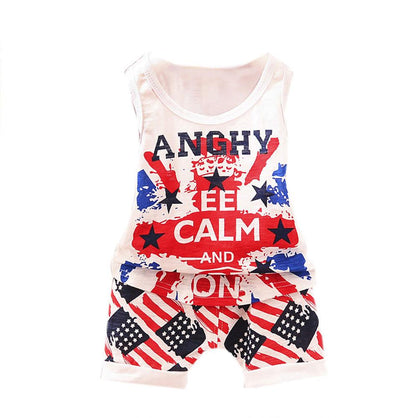 6-24M baby boy clothes set summer 2017 Toddler Kids Baby Boys Stars Stripes Shirt Tops + Shorts Outfit boy Clothes Set drop ship
