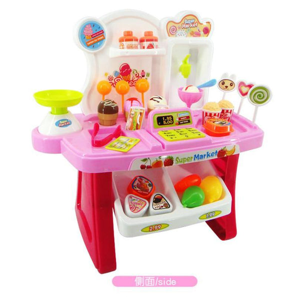 34pcs Pretend Play Mini Supermarket Cash Register Shopping Cart Toys Set Gift Shopping cart toys for children kids