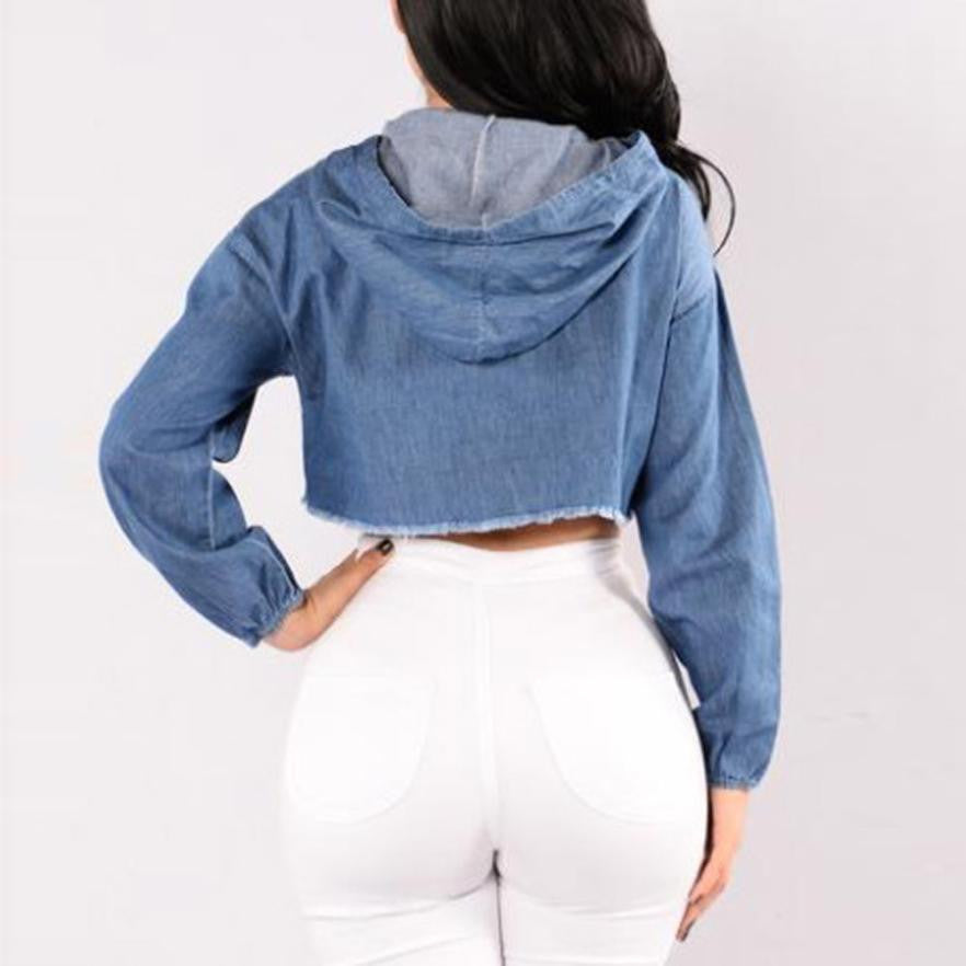 Blue Demin Blouse Women Long Sleeve Jean Hoodie Hole Hooded Pullover Short Blouse Casual Autumn Tops