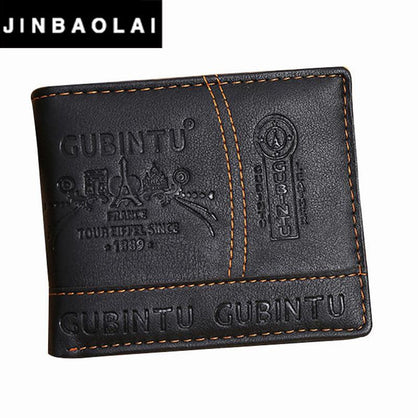 JINBAOLAI Brand Leather Wallet 2016 Men Wallet Men's Short Purse Men Bags Coin Wallets Clip Cowhide Mens Wallet #ZTYW