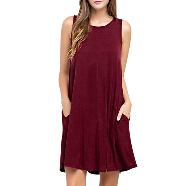 2017 Women Dress Solid Casual Sleeveless Evening Party Dresses Summer Round Neck Cut Out Cute Shift Dress
