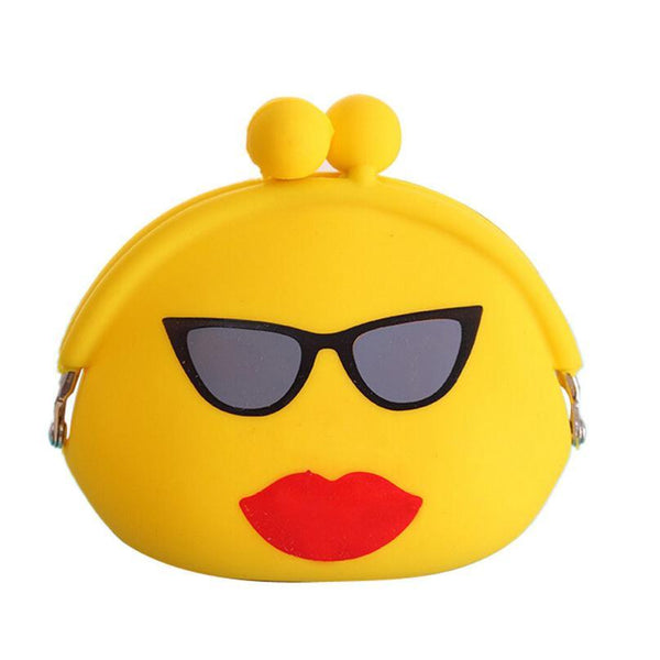 Women Wallets Smiley Face Cute coin Purse Silicone Jelly Wallet Change Bag Key Pouch  #XTJ