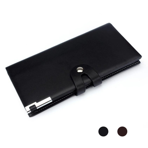 men PU leather wallet Long Section Button Bifold Business Leather Wallet Card Coin Wallet