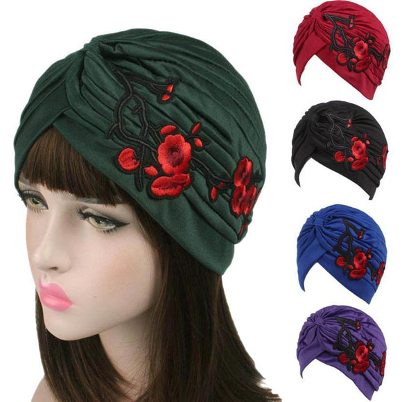 2017 New Arrival Knitted hat Women Embroidery Hats 9 Colors Cancer Chemo Hat Beanie Scarf Turban Head Wrap Cap -  - Drako Store