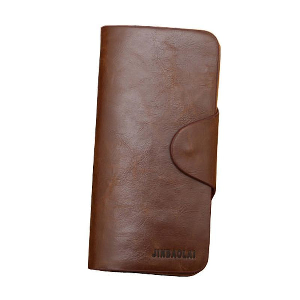 Jinbaolai Luxury Mens Leather Long Wallet Pockets ID Card Clutch Bifold Purse #LREW