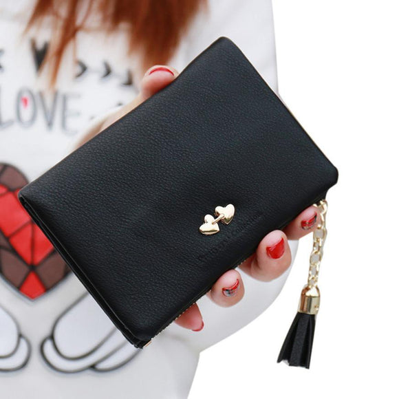 2016 Fashion Women Wallets Leather Short Wallet Clutch Women Tassel Women Card Purse Wallets Handbag carteras mujer #25 -  - Drako Store