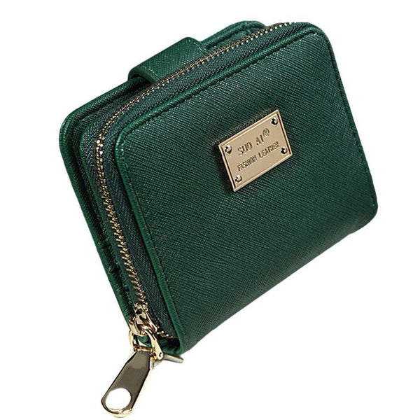 2016 New Brands Women Wallets Green functional Gift for female Zipper Short Wallet Handbag Purse Women Clutch Bag#YLEW