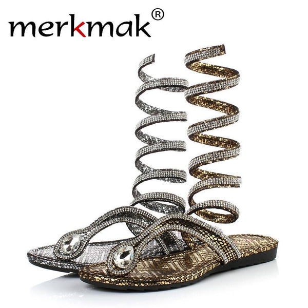 2017 Luxury Crystal Women Sandals Hot Fashion Snake Design Summer Thong Flat Gladiator Sandal Ankle Wrap Flip Flips Woman Shoes