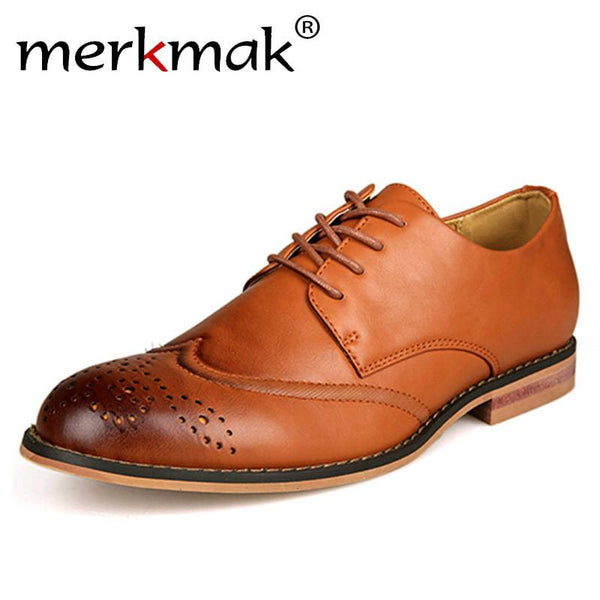 Merkmak Newly Oxford Shoes Men Flats Brogue Pointed Toe Dress Shoes Sapato Social Masculino Brown Brogues Lace-Up Business Shoes