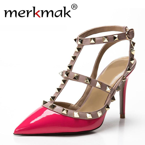 New 2017 Summer Fashion Lady Sexy Women Pumps Pointed Toe Sandals Slingback Studded T-Strap Rivet High Heels Wedding Shoes Woman -  - Drako Store