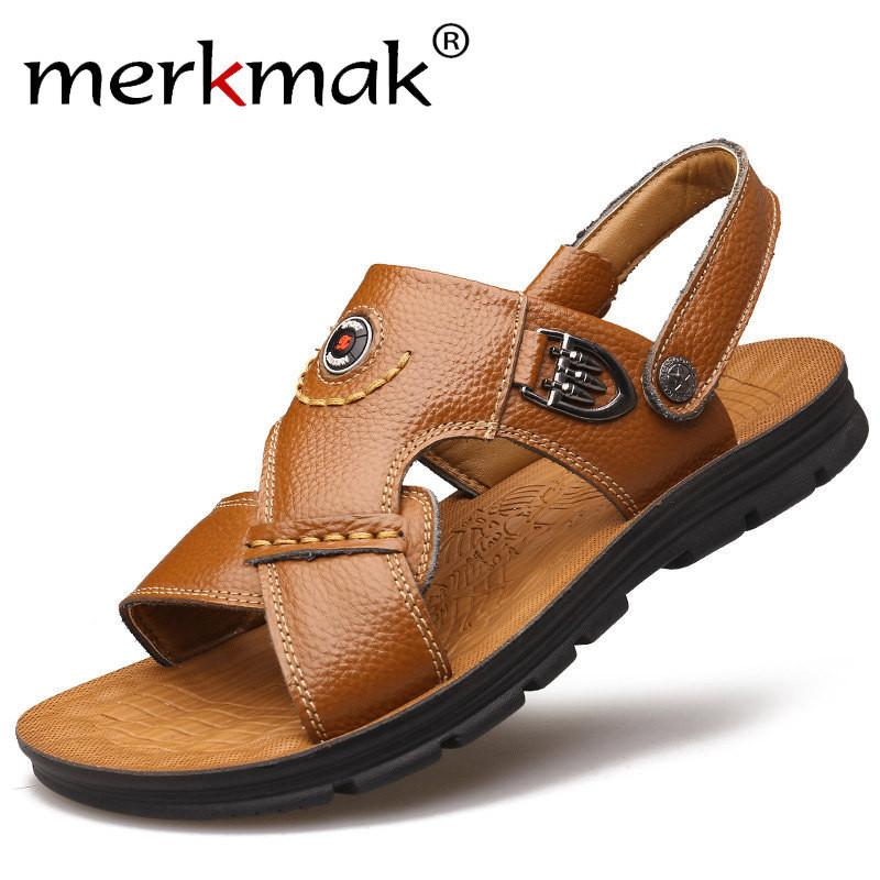 Merkmak Luxury Men Sandals Genuine Leather Fashion Summer Mens Slippers Breathable Men's Sandals Causal Shoes Leather Flat Shoes