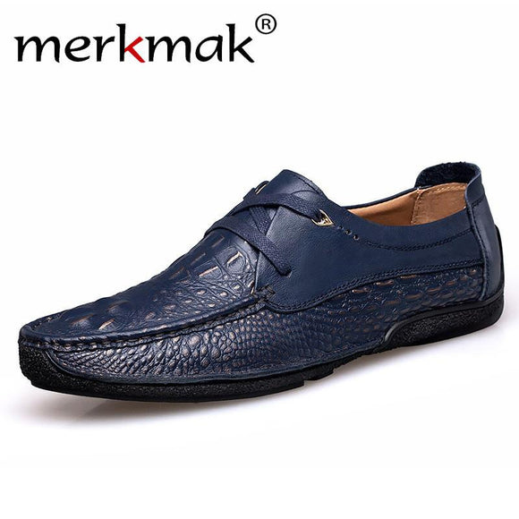 Merkmak Handmade Leather Men Shoes Moccasins Shoes Men Flats Casual Men Loafers Crocodile Soft Leather Shoes -  - Drako Store