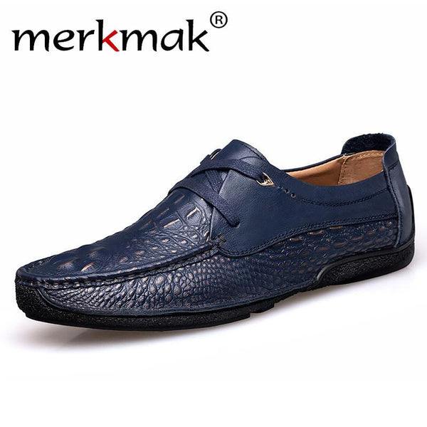 Merkmak Handmade Leather Men Shoes Moccasins Shoes Men Flats Casual Men Loafers Crocodile Soft Leather Shoes