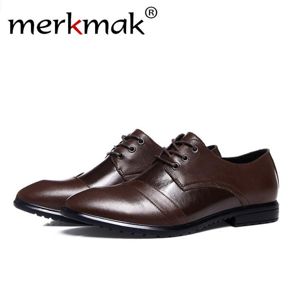 Merkmak Top quality Genuine Leather Men Shoes Fashion Casual Shoes Men Business Sapatos Masculino Comfortable Men Flats Shoes
