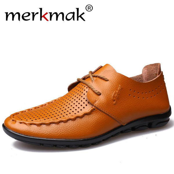 Merkmak Brand Fashion Summer Soft Casual Shoes Moccasins Men Loafers High Quality Genuine Leather Shoes Men Flats Driving Shoes