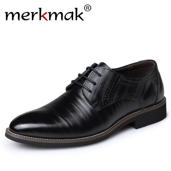 Merkmak Genuine Leather Mens Dress Shoes High Quality Oxford Shoes For Men Lace-Up Business Men Shoes Brand Mens Wedding Shoes