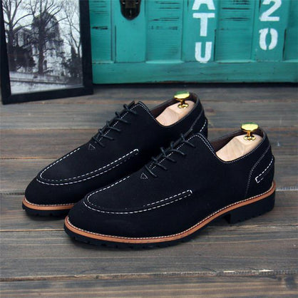 Merkmak Shoes Men British Style Casual Fashion Autumn Nubuck Footwear Leather Office Men Shoes Lace Up Flats Men Zapatos Hombres