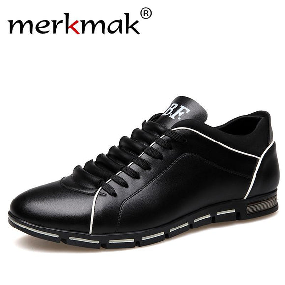 Merkmak Men Leather Shoes Casual Autumn Fashion Shoes For Men Designer Shoes Comfortable Big Size 38- 47 Mens Shoes Soft Loafers