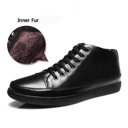 Merkmak 2016 Men Shoes Genuie Leather Fashion Brand Casual Fur Warm Winter Autumn Men Shoes Plush Men Flats Shoes Zapatos Hombes