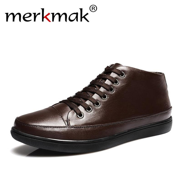 Merkmak 2016 Men Shoes Genuie Leather Fashion Brand Casual Fur Warm Winter Autumn Men Shoes Plush Men Flats Shoes Zapatos Hombes -  - Drako Store