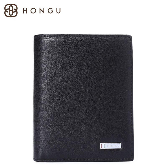 HONGU Genuine Cow Leather Men Wallet Fashion Coin Pocket Short Trifold Men Purse High Quality Male Money Clip Card ID Holder Bag