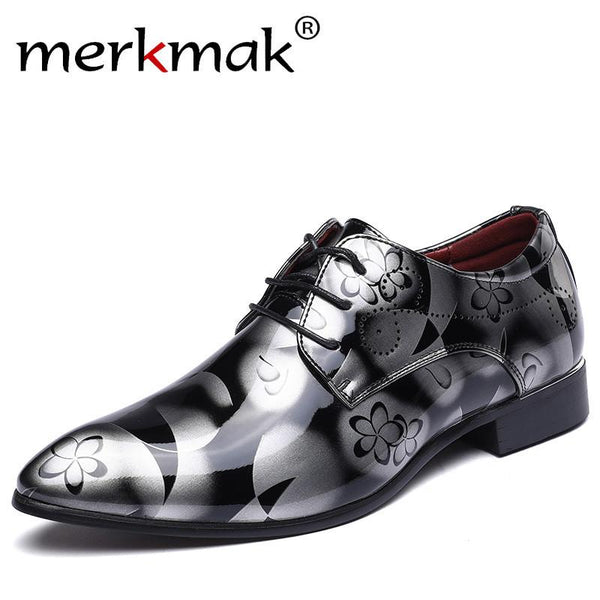Merkmak Large Size 38-48 Designer Men Print Dress Shoes Patent Leather Luxury Fashion Groom Wedding Men Oxford Shoes for Man